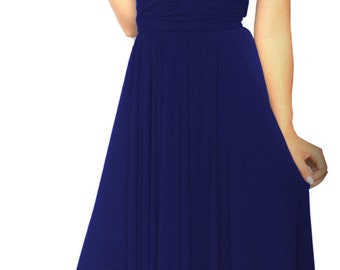 Bridesmaids dress in  dark blue color   floor length  WITH TUBE TOP wrap dress Convertible/Infinity Dress