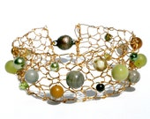 Metallic Forest Bracelet Bronze Wire Jasper Swarovski Pearl Fall Jewelry Olive Green Beaded Cuff Bracelet