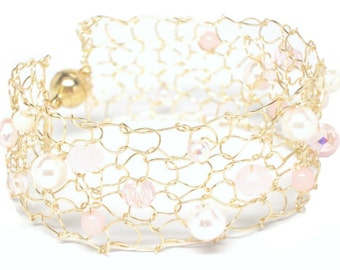 rose quartz bracelet beaded bracelets gold cuff bracelet wife pink jewelry blush bracelet pearl cuff bracelet romantic gift for girlfriend
