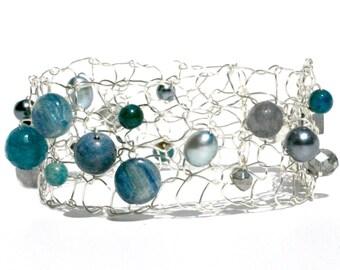 beaded bracelet titainum bracelet kyanite bracelet angelite bracelet dainty bracelet skinny cuff bracelet arm cuff feminine gift for her