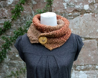 SCARF knitted womens, super soft button scarf in natural stripes, knitwear UK, gift ideas