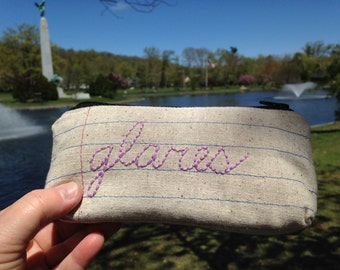 Glares - Eyeglass Case Zipper Pouch -  Notebook Paper Fabric - Machine Stitched and Hand Embroidered - Sunglasses Case