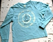 4T Kid Organic Long Sleeved Patience Buddha T Shirt, Earthy Blue, tie-dye yoga kids, childrens winter shirt