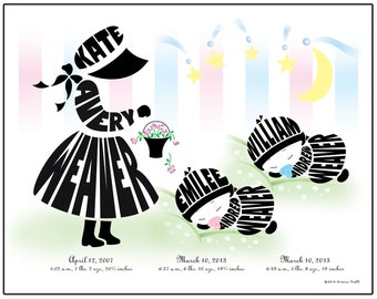 Personalized Big Sister with Twin Baby Brothers or Twin Baby Sisters Print, Twin Baby Shower Gift, Twin Baby Silhouette Name Art