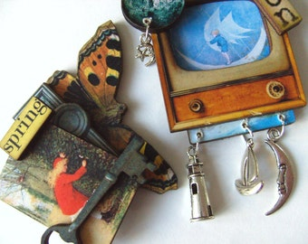Man on the Moon, The secret garden, choose, BROOCH, whimsical, wood, diarama ,fairytale,  by NewellsJewels on etsy
