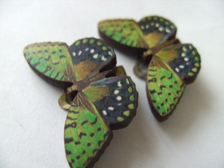 fantastic wooden butterfly clip on earrings green by