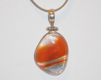 Vintage Sterling Silver Agate Pendant Necklace, Jewelry