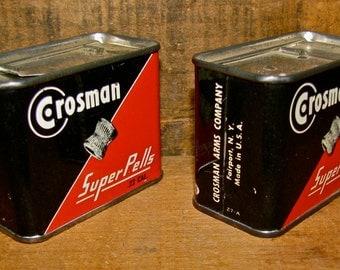 2 Vintage Crosman Tin Ammo Shell Boxes / Ammunition / Ammo Bullet Pellet Box