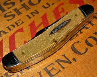 Winchester 3 Blade Sowbelly Pattern Pocket Knife / Goldstone Handles
