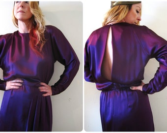 vintage 80s 90s amethyst purple satin open back dress / orchid plum / draped dolman sleeves