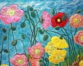 Silk painted art quilt , fiber art wall hanging in a contemporary style garden fiber art  with stylized poppies.