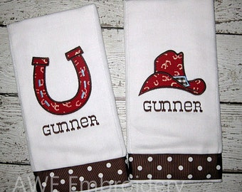 Monogrammed Cowboy Burp Cloth Set for Baby Boy - Personalized Embroidered