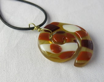 Gastropod Shell Spiral Fused Glass Pendant
