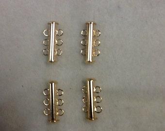3 strand sliding tube clasp 4pc gold
