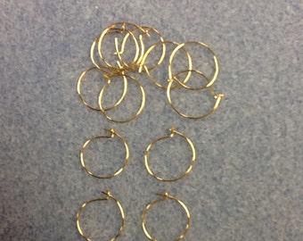 12mm hoop earring add a bead gold 6 pairs NICKEL FREE