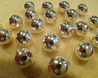 8mm round bead Silver Plated 25pk NICKEL FREE