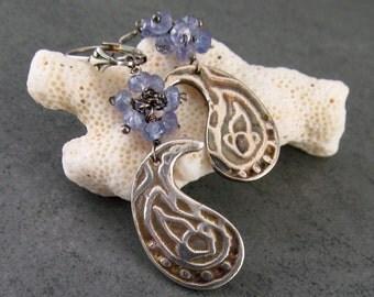 Tanzanite paisley earrings, handmade recycled fine silver earrings-OOAK