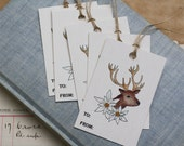 Stag Reindeer Gift Tags, Deer Edelweiss Nordic Alpine, Sets of 6, 12, 24 or 48