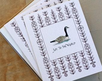 Set, Christmas Goose Joy to the World. Non Religious. Set of 8 Joy to the World Handmade Holiday Greeting Card Set