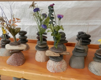 Bud Vase.  All rock OR rock and driftwood.    Our Choice