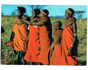 4 Vintage Costume Postcards - East Africa - Samburu People - Traditional Costumes - Folk Jewelry