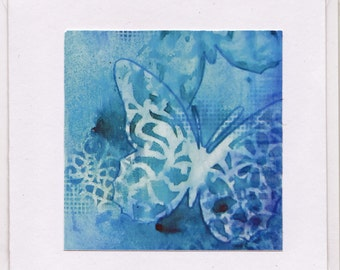 Note / greeting card - Blue Butterflies (print of original mixed media collage)