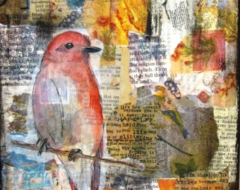 Original Mixed Media bird collage on canvas