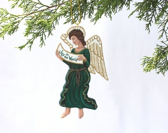 Renaissance Angel Ornament - Joy to the World - Handmade Painted Wood Old World Christmas Decoration
