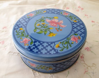 round blue floral TIN with lid - flowers, pink, yellow