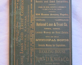 rare antique book - Radges' Directory of TOPEKA circa 1878 - business directory, advertising