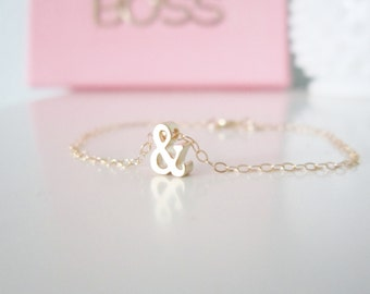 Ampersand bracelet on gold filled chain, delicate modern jewelry