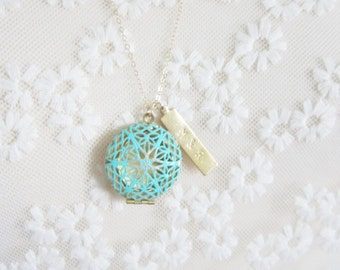 Turquoise filigree locket with personalized brass bar on gold filled chain, modern personalized jewelry