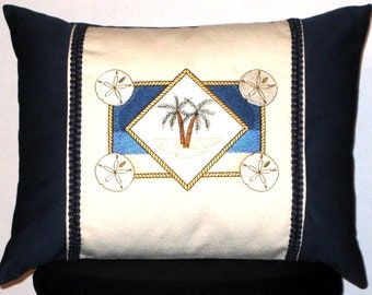 New Embroidered Blue Nautical Seascape Accent Pillow 12x16 -- Item 88