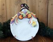 Snowman Cookie Platter in Bright Orange & Purples