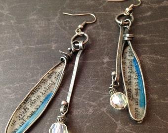 Steampunk Antiqued Silver Long Dangle Earrings