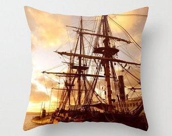 Pirate Ship, Fine Art Photography, Throw Pillow Cover, Vintage Ship, Ocean, Historic Travel, Nautical, Steamer, Submarine, Sunset Home Decor