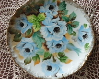 Ucagco Hand Painted Porcelain Hanging Plate with Blue Flowers - Japan