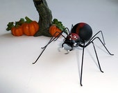 Medium Handmade Red and Black Marble Spider Hanging Perfect Gift for Entomologists and Bug Lovers