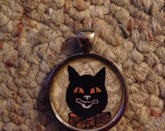 Victorian Halloween Black Cat Image Pendant Necklace-FREE SHIPPING-