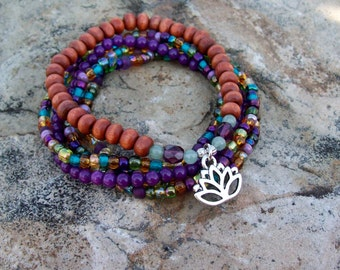 Purple Mountain - Beaded Stack Stretch Bracelets with Silver Lotus Charm