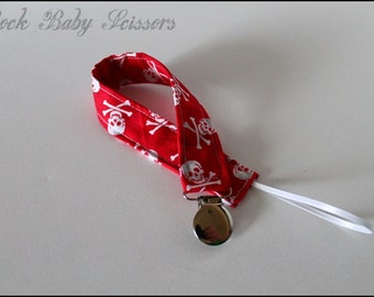 Skulls and Crossbones Pacifier Clip with White ribbon loop