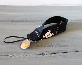 Ready to Ship Skulls and Barbed Wire Pacifier Clip