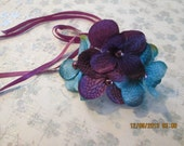 Ballet bun holder - Purple and Turquoise  flower bun wrap - Floral bun holder - Ballet hair flower