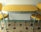 Vintage Yellow Formica and Chrome Table With Two Chairs