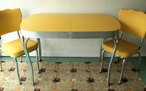 Vintage Yellow Formica And Chrome Table With Two Chairs Retro Formica Table