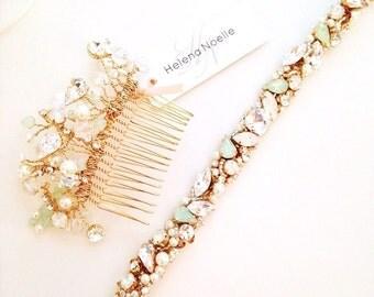 Opal Mint Crystal Bridal Belt- Narrow Bridal Belt- Swarovski Crystal Bridal Sash- One-of-a-Kind Hand-Beaded -Vintage Glamour