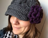 ADULT Knit and Crochet Chunky Cable Brimmed Bill Hat with Flower - PATTERN Only -