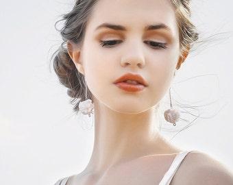 White fabric bead earrings wedding boho earrings