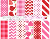 Made 2 Match: Strawberrylicious Cute Digital Papers - Commercial Use Ok - Pink Strawberry Backgrounds, Red Strawberry Papers
