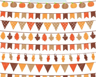 Autumn Bunting Cute Digital Clipart - Commercial Use OK - Autumn Bunting - Autumn Garland Clipart , Digital Art
